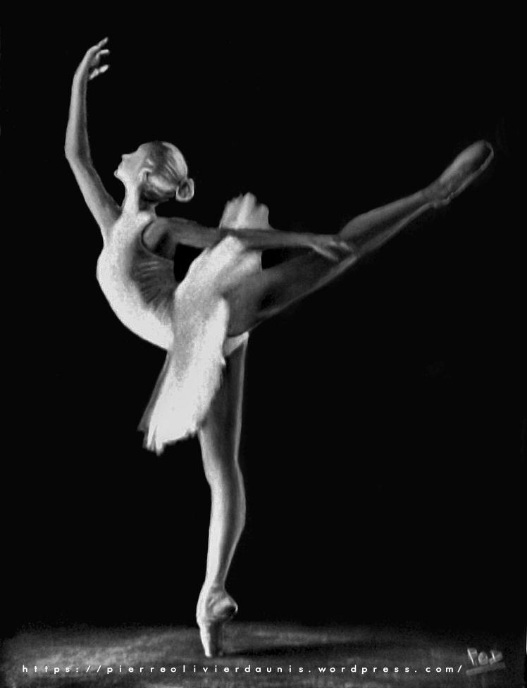 tableau de danseuse au pastel sec n°2 classique ballerine déco design moderne contemporain au pastel sec - modern dancer painting - fine art