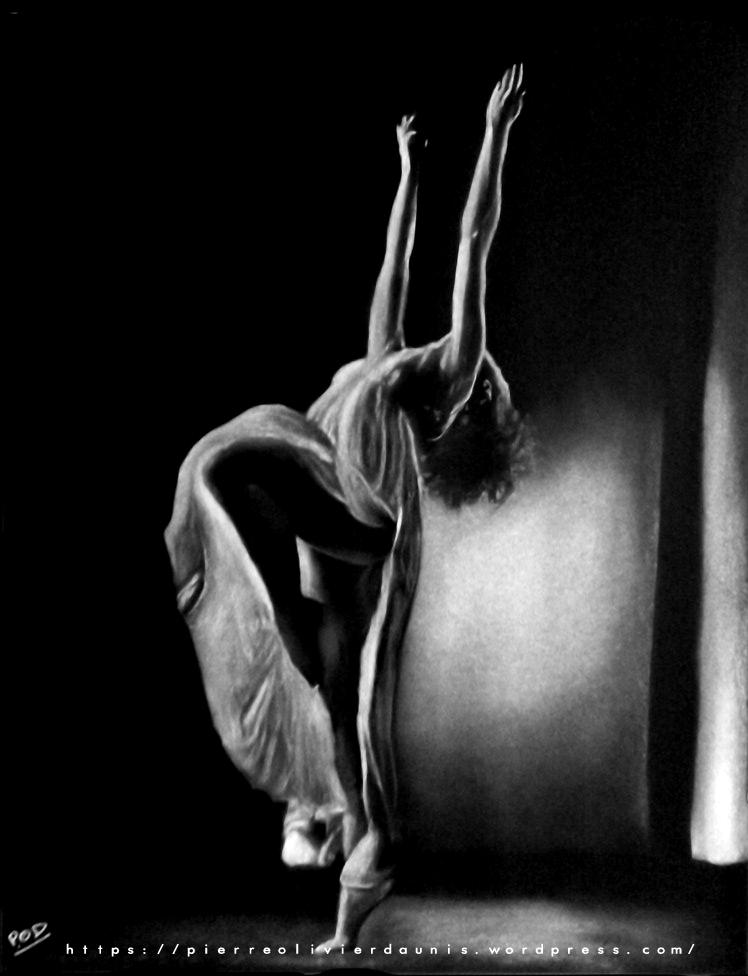 tableau de danseuse au pastel sec n°4 classique ballerine déco design moderne contemporain au pastel sec - modern dancer painting - fine art