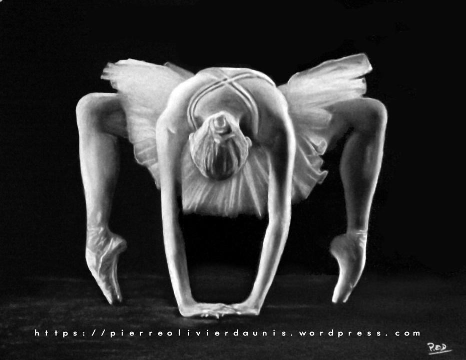 tableaux modernes de danse classique ballerine déco design moderne contemporain au pastel sec - modern dancer painting - fine art