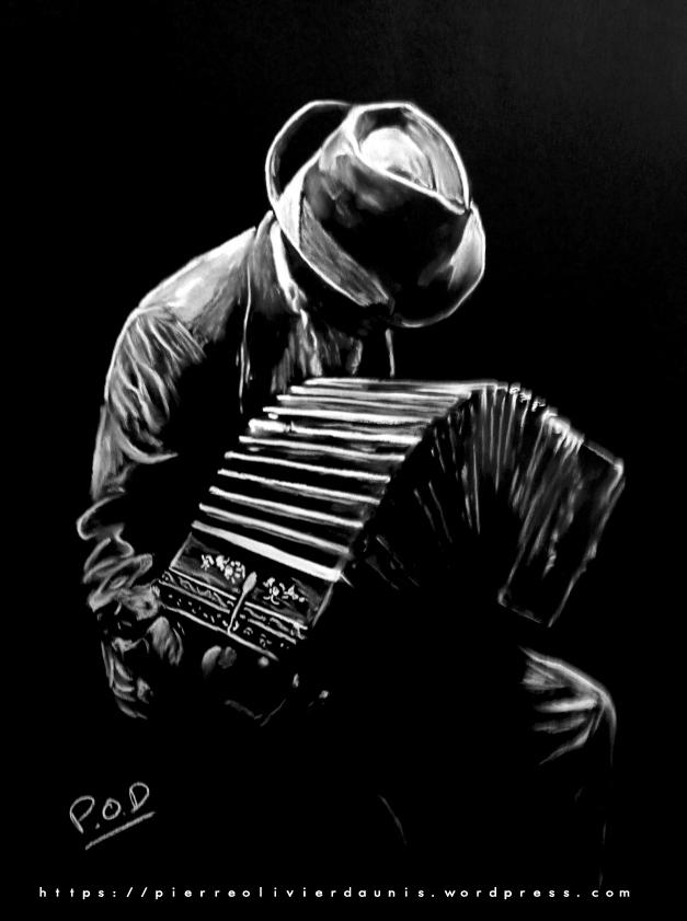 tableau de bandoneoniste au pastel sec musique déco design moderne contemporain au pastel sec - modern musician painting - fine art