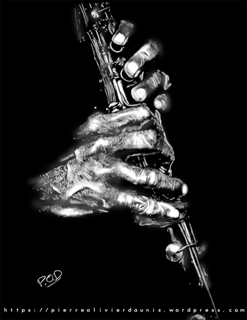 tableau de clarinettiste musique déco design moderne contemporain au pastel sec - modern musician painting - fine art