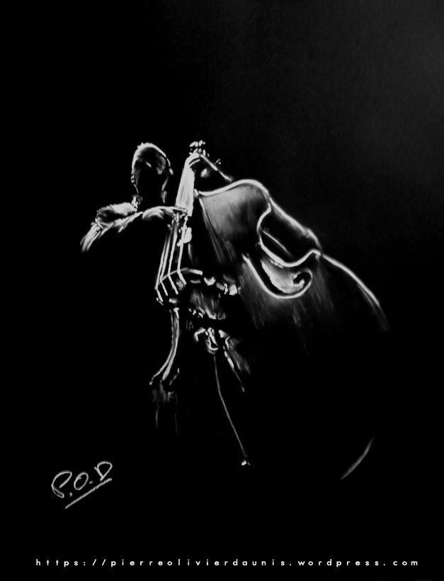 tableau de contrebassiste musique déco design moderne contemporain au pastel sec - modern musician painting - fine art
