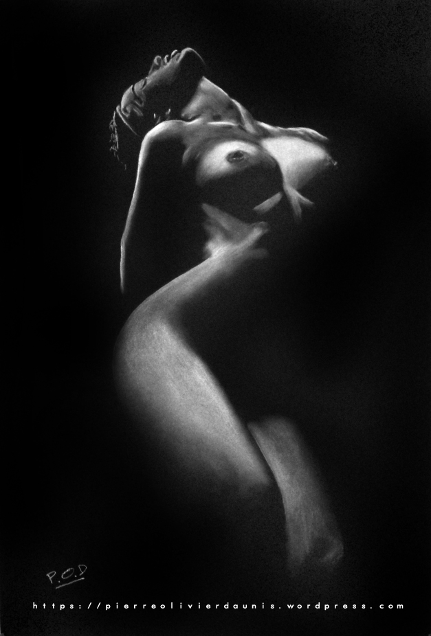 tableau de nu artistique femme nue au pastel sec n°11 idée déco design moderne contemporain au pastel sec - modern nude painting - fine art