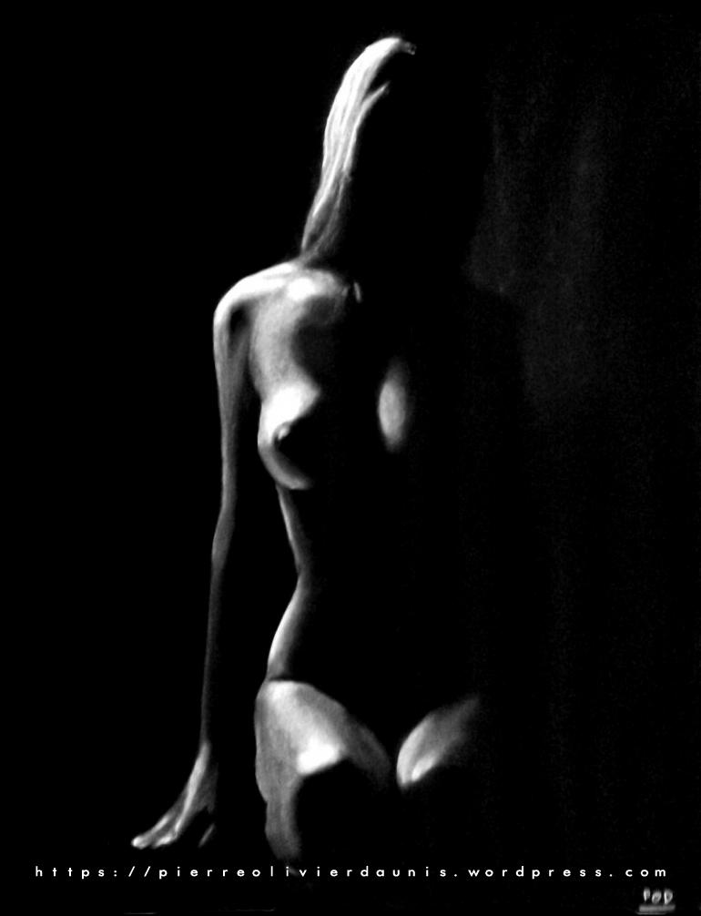 tableau de nu artistique femme nue au pastel sec n°17 idée déco design moderne contemporain au pastel sec - modern nude painting - fine art