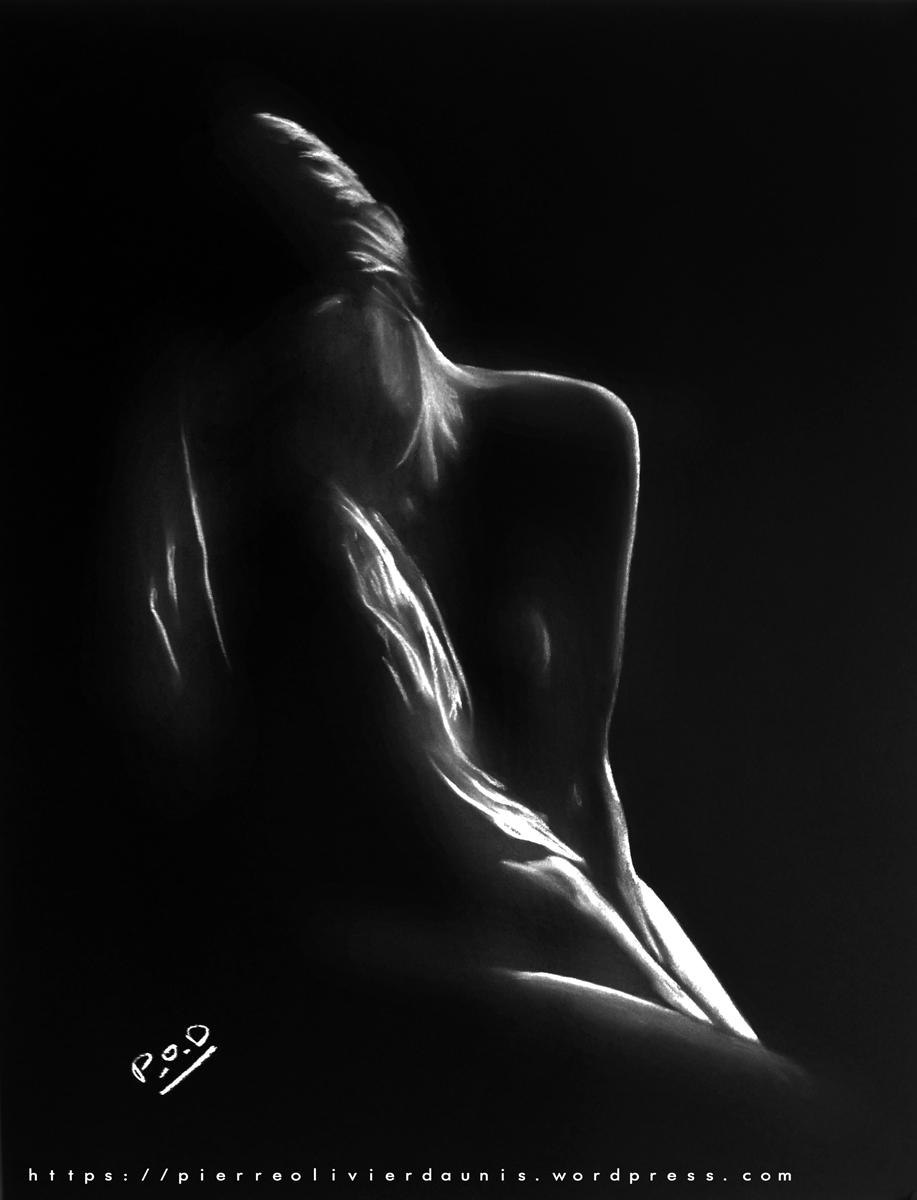 tableau nu artistique femme nue au pastel sec n°34 déco design moderne contemporain au pastel sec - modern nude painting - fine art