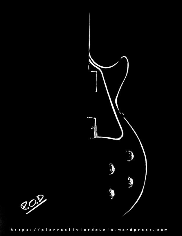 tableau de guitare électrique déco design moderne au pastel sec