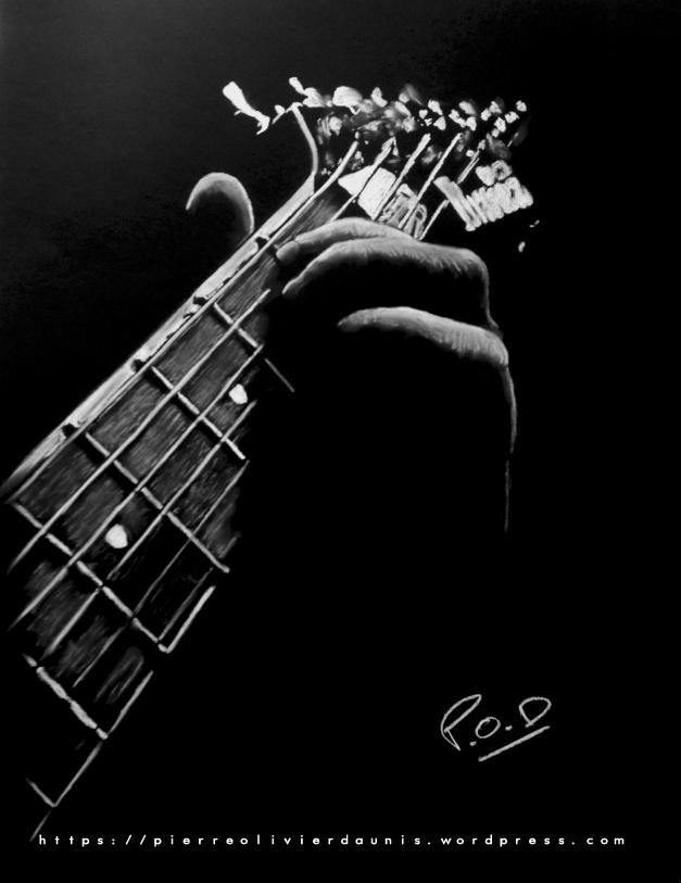 tableau de guitare au pastel sec n°1 musique déco design moderne contemporain guitariste au pastel sec - modern musician painting - fine art