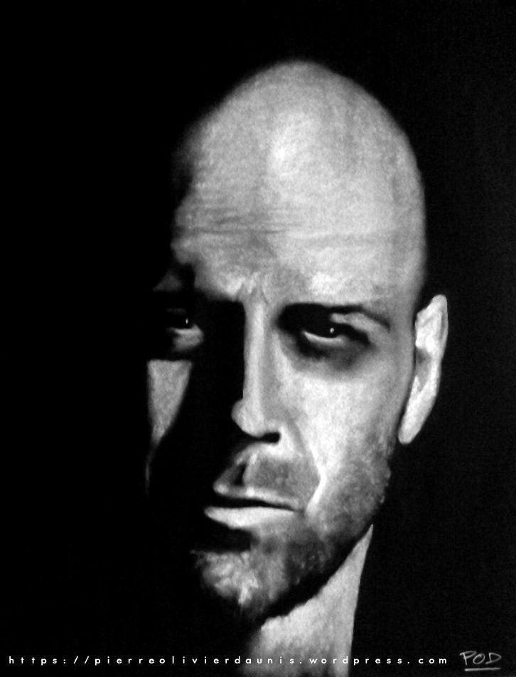 portrait au pastel sec de Bruce Willis idée déco design moderne contemporain au pastel sec - modern nude painting - fine art