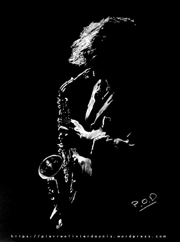 tableau de saxophoniste musique déco design moderne contemporain tableaux de musique au pastel sec - modern musician painting saxophon - fine art