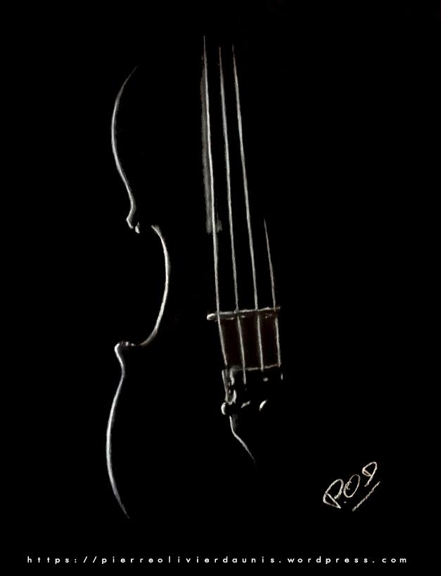 tableau de violon au pastel sec violoncelle musique classique déco design moderne contemporain au pastel sec - modern music classic painting - fine art