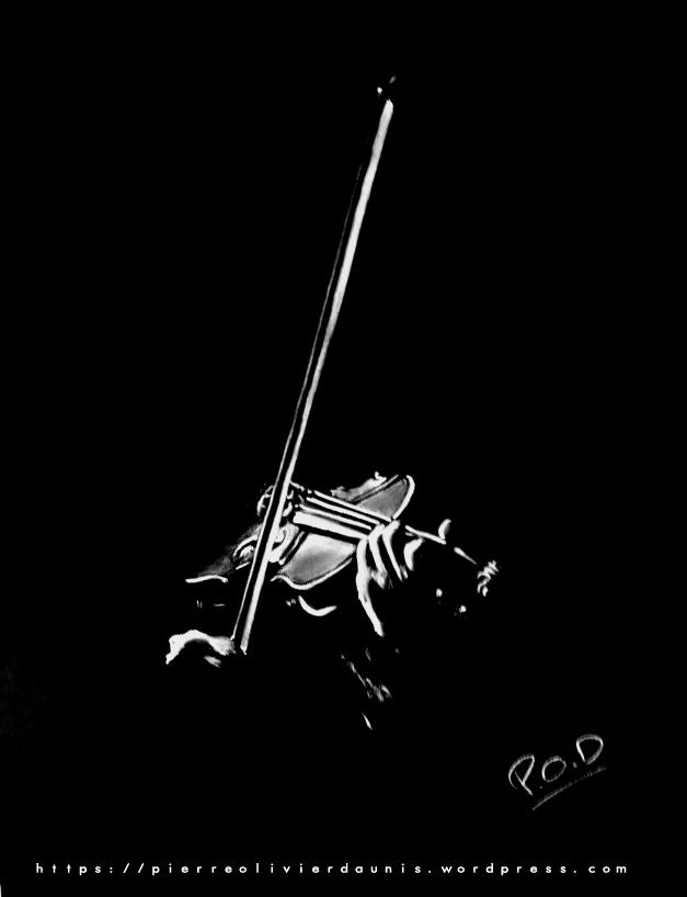 tableau de violoniste musique classique déco design moderne contemporain au pastel sec - modern music classic painting - violon