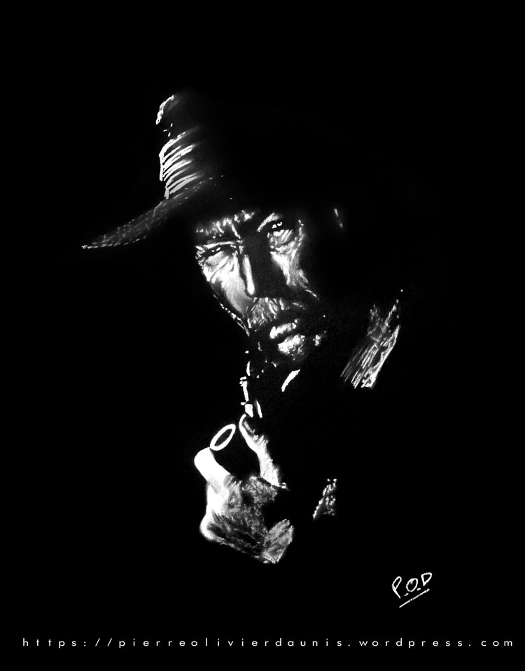 tableau de Lee Van Cleef déco design moderne contemporain au pastel sec - modern film actor painting - fine art