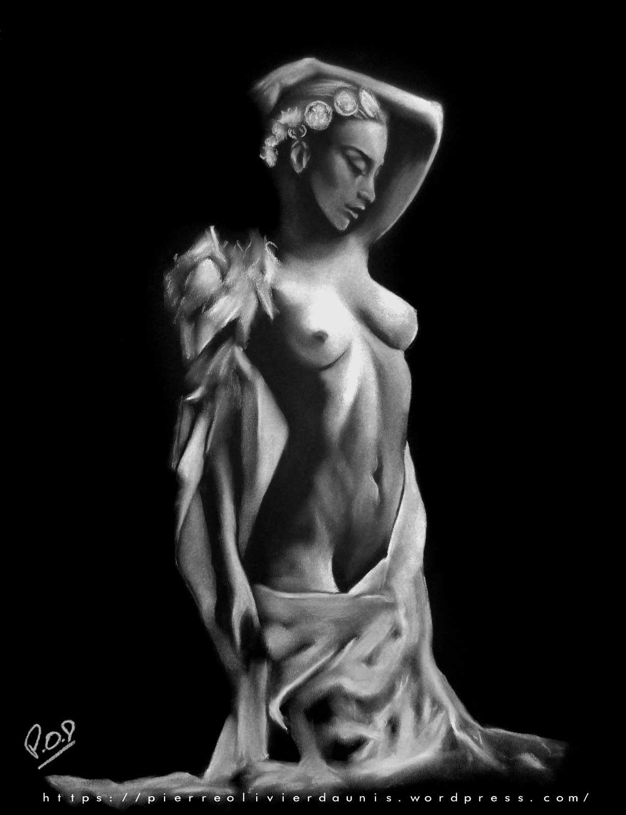 femme nue au pastel sec 46 Painting nude woman nude n°46