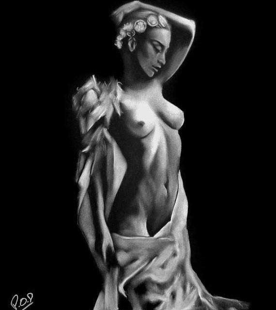 femme nue au pastel sec 46