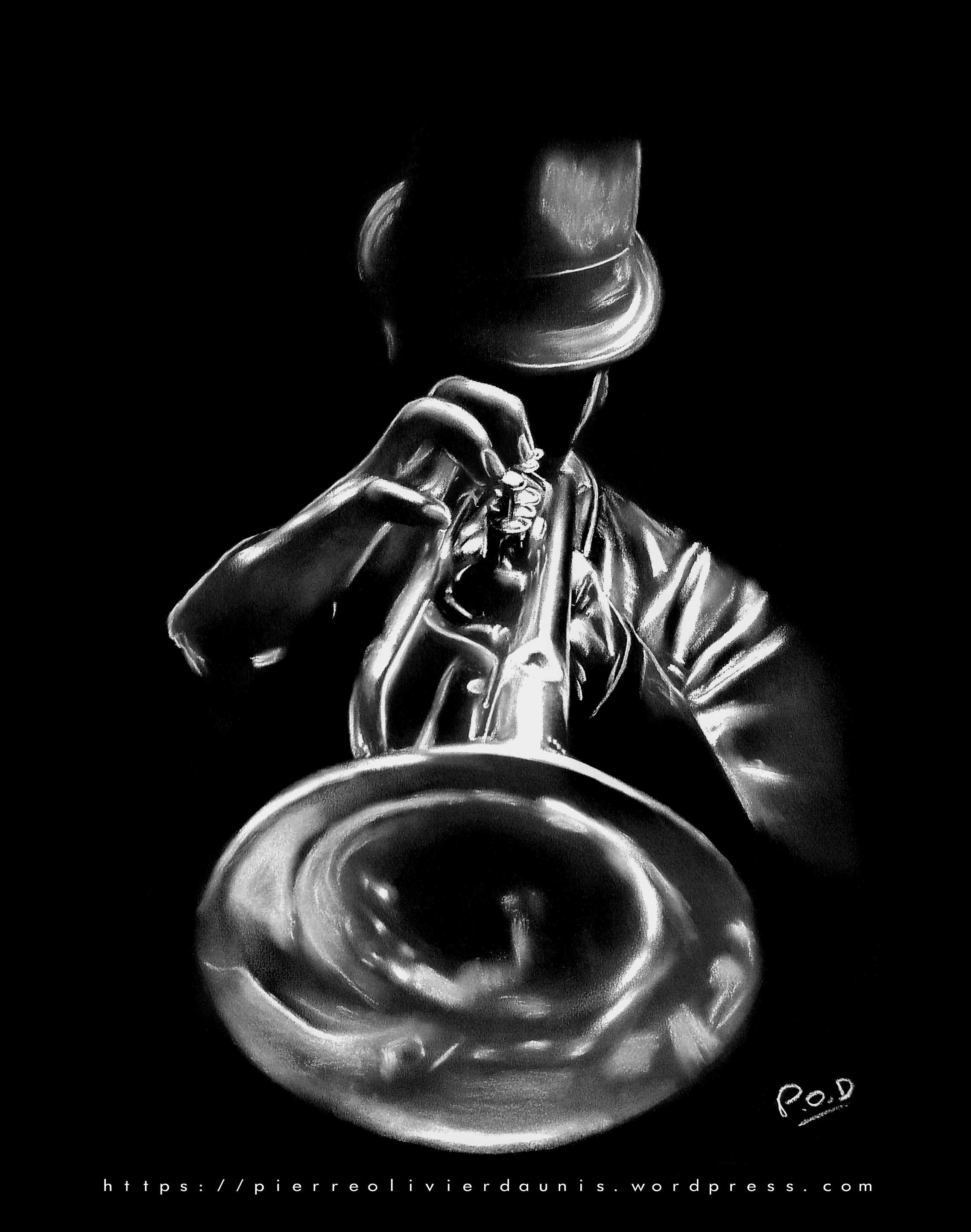 tableau de trompettiste au pastel sec
