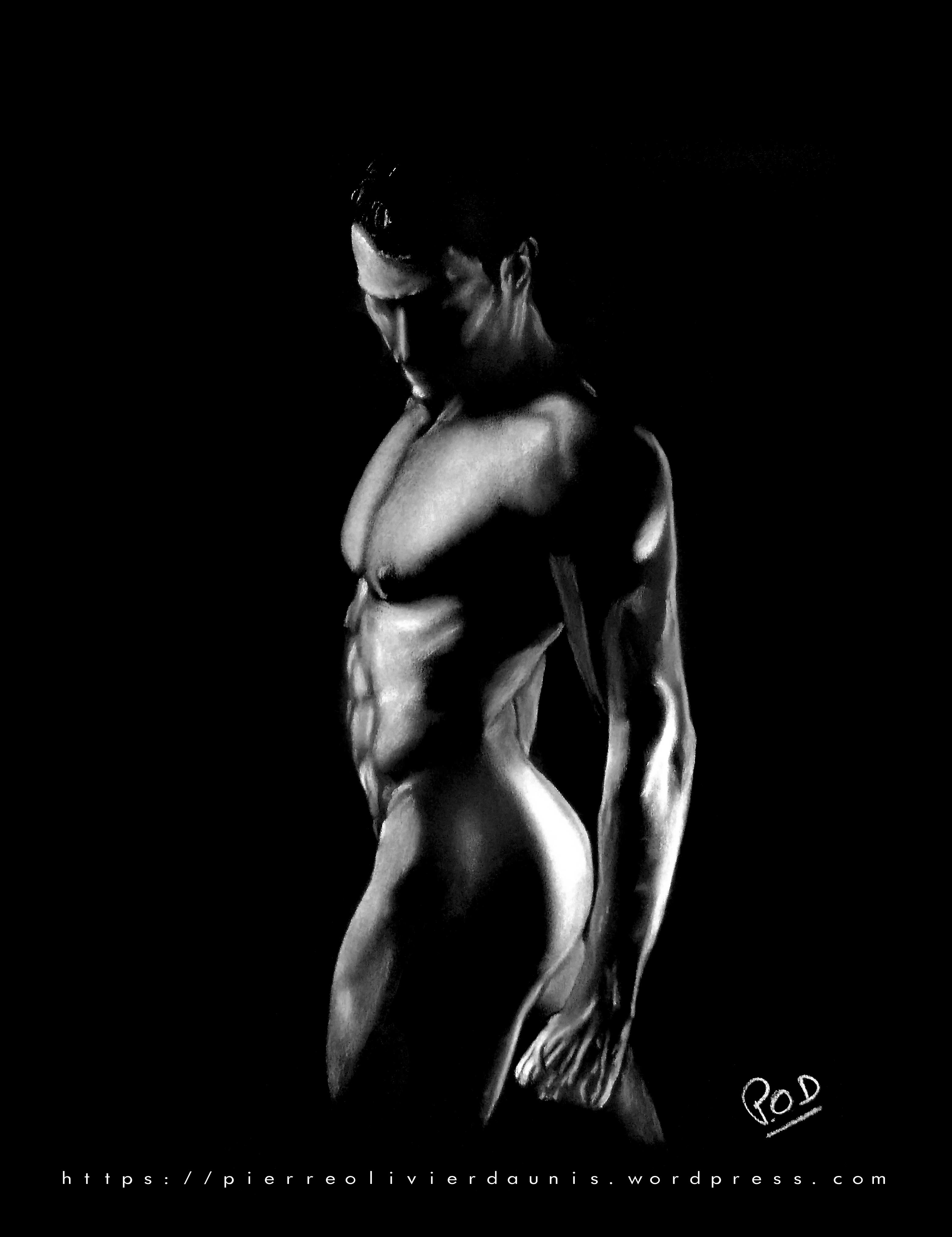 nu artistique masculin - male nude painting - fine art