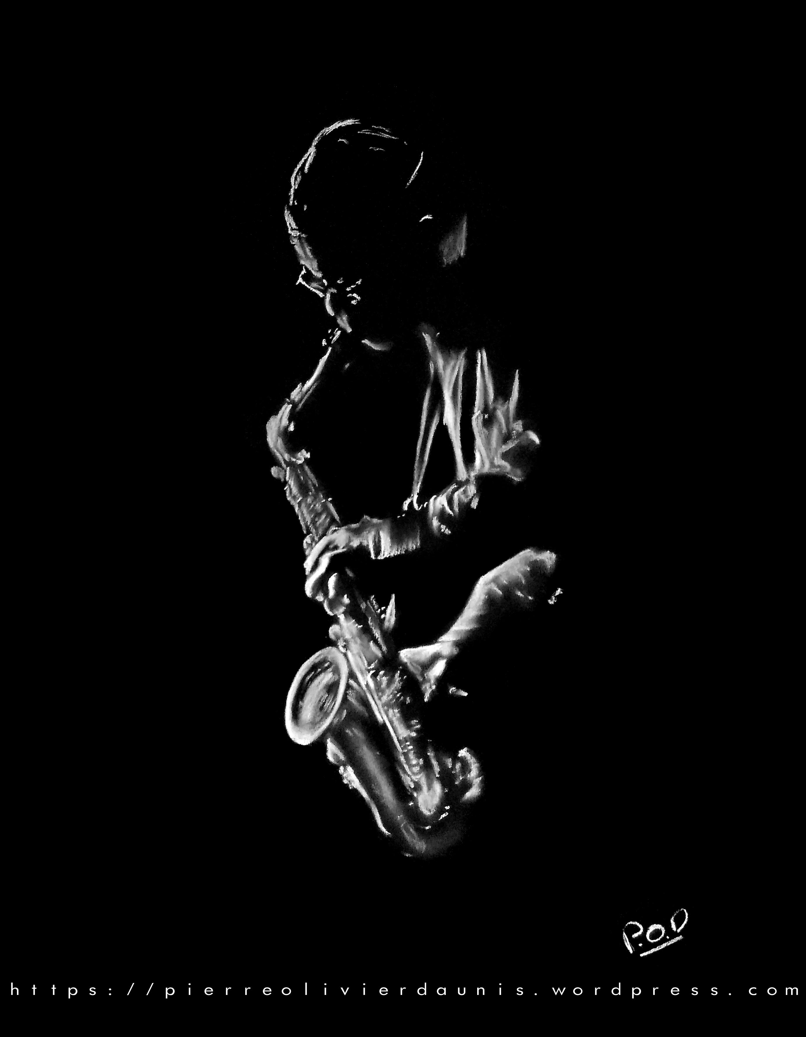 peinture jazz saxophoniste 2 au pastel sec
